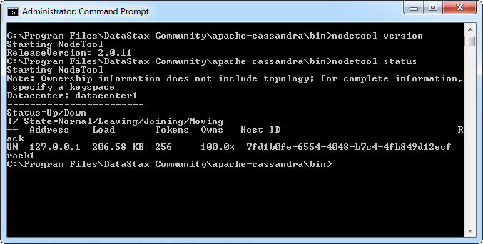 Using nodetool version and nodetool status from the Windows command prompt